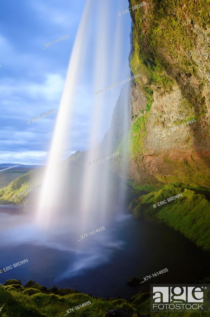 Stock Photo: A side-view of Seljalandsfoss, Iceland.