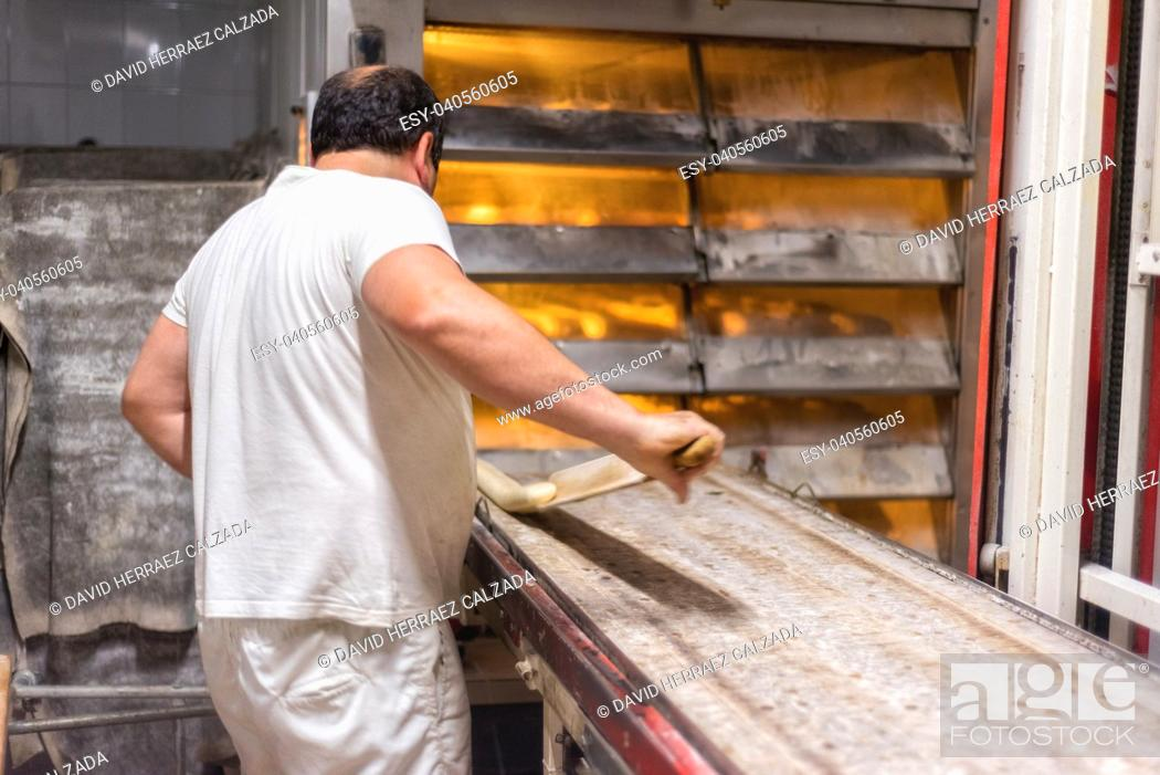 Stock Photo: Baker preparing uncooked bread dough loaves ready to bake.
