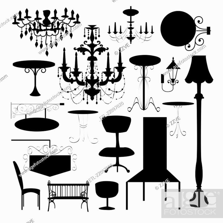 Stock Photo: Set of silhouette of luxury chair, sign board and different type of lamp.