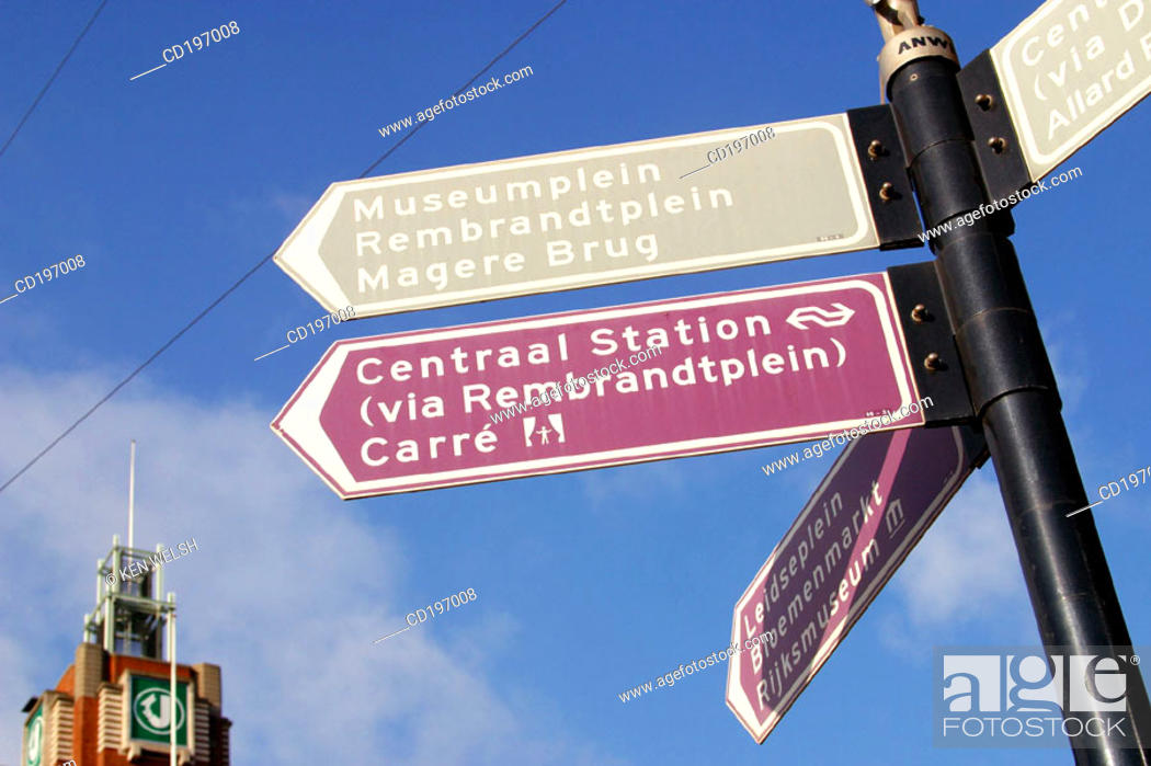 Stock Photo: Street signs. Amsterdam. Holland.