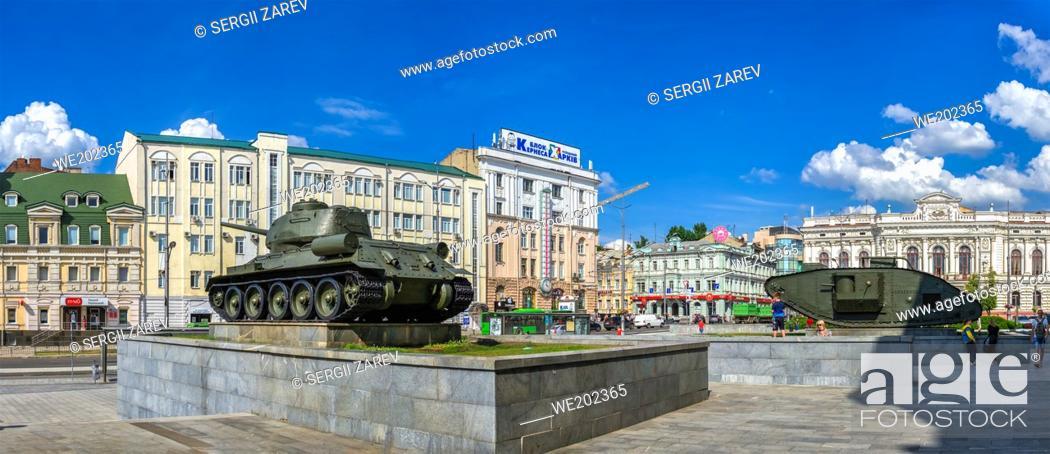 Stock Photo: Kharkiv, Ukraine 07. 17. 2020. Constitution Square in Kharkiv, Ukraine on a sunny summer day.