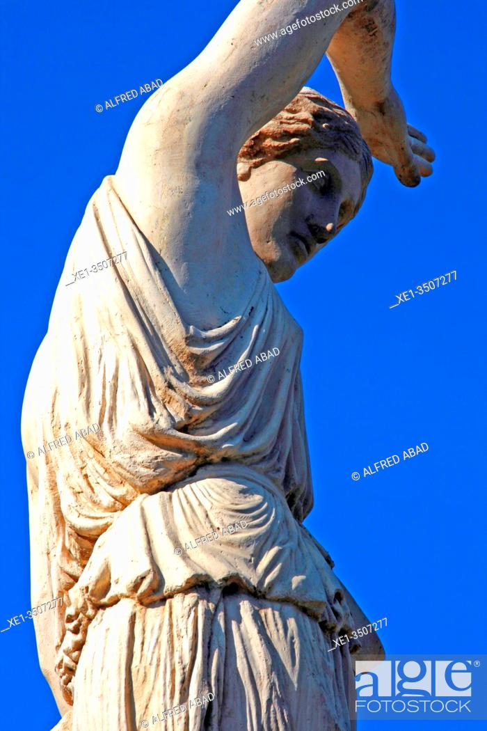 Stock Photo: Detail of the sculpture 'Amazona' by Salvador Mañosa, 1929, Montjuïc, Barcelona, Catalonia, Spain.
