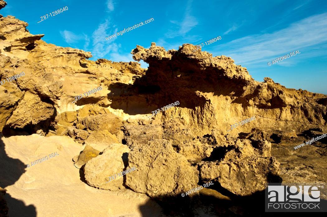 Stock Photo: Fossil dunes, Parque Regional de Calblanque, Cartagena, Spain.