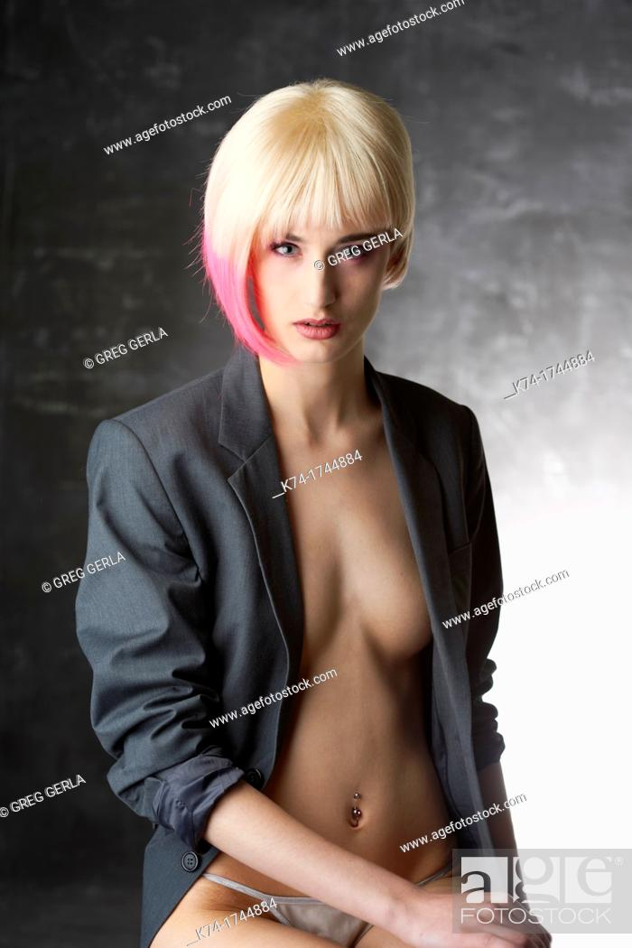 Stock Photo: fashion image of young woman.