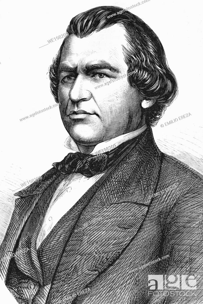 Stock Photo: Andrew Johnson. 17th President of the United States. 1808-1875. Antique illustration. 1865.