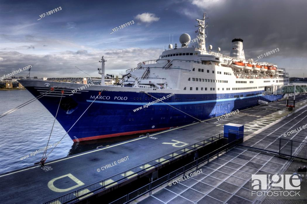 Stock Photo: Cruise ship Marco Polo berthed at the port of Amsterdam.