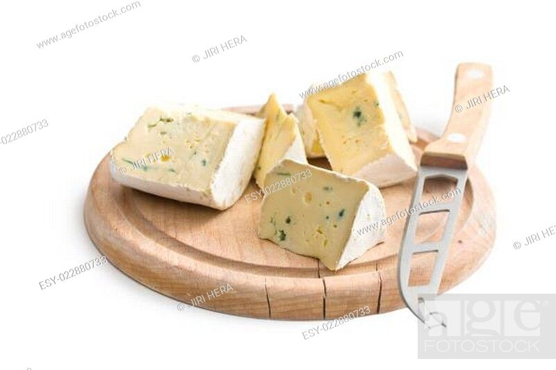 Stock Photo: blue cheese on cutting board.