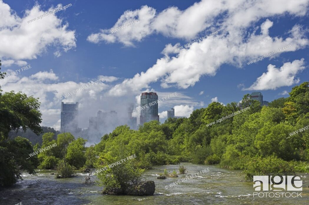 Stock Photo: The Niagara River looking towards Niagara Falls Ontario from the Three Sisters Islands, Niagara Falls State Park New York, USA.
