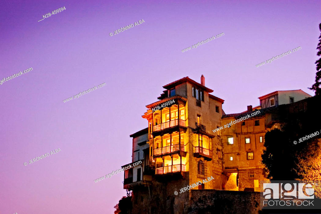 Stock Photo: Hanging houses in the evening, Cuenca. Castilla-La Mancha, Spain.