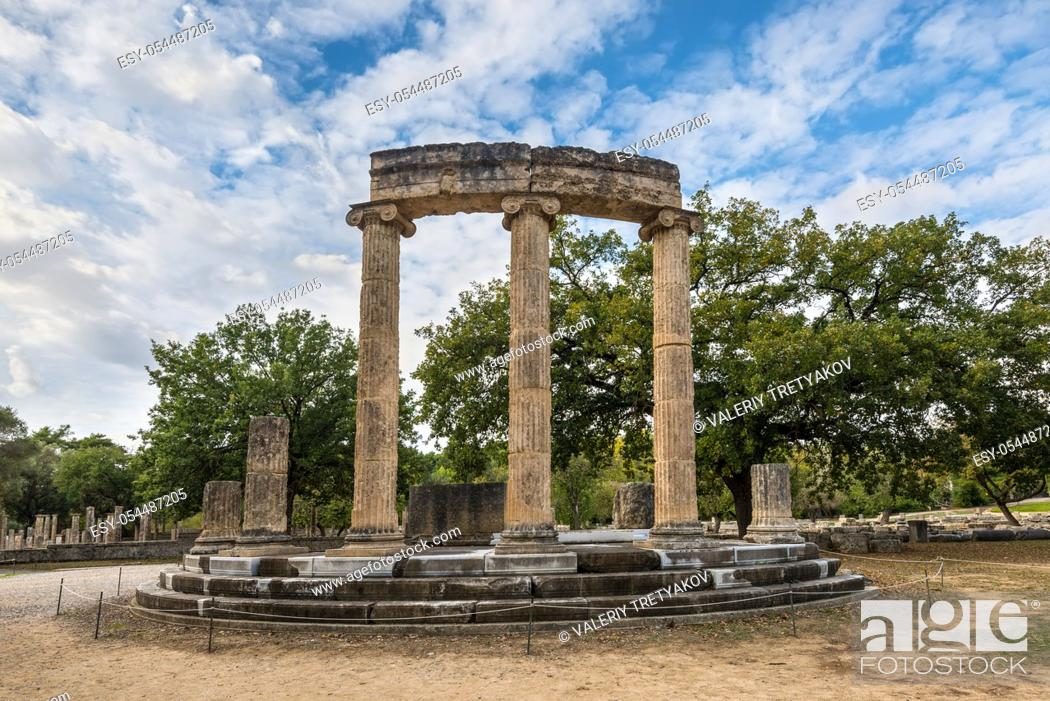 Stock Photo: Archaeological Site of Ancient Olympia. The Philippeion in the Altis of Olympia was an Ionic circular memorial in limestone and marble.