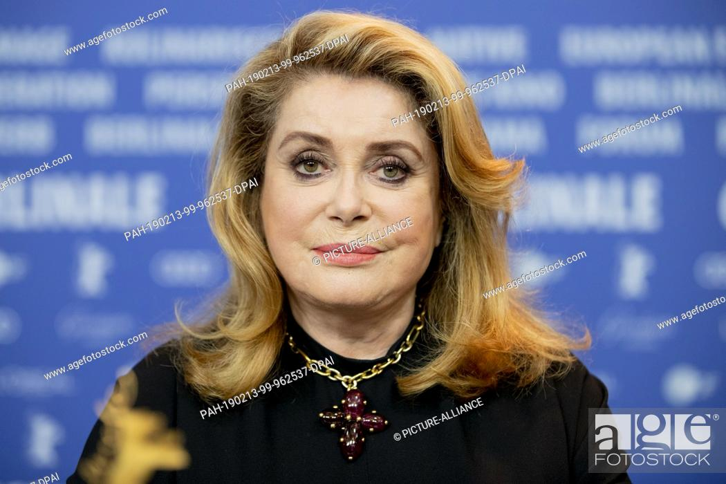 "Stock Photo: 12 February 2019, Berlin: 69th Berlinale, press conference: Catherine Deneuve, actress, attends a press conference on the film """"L'Adieu à la nuit""""."