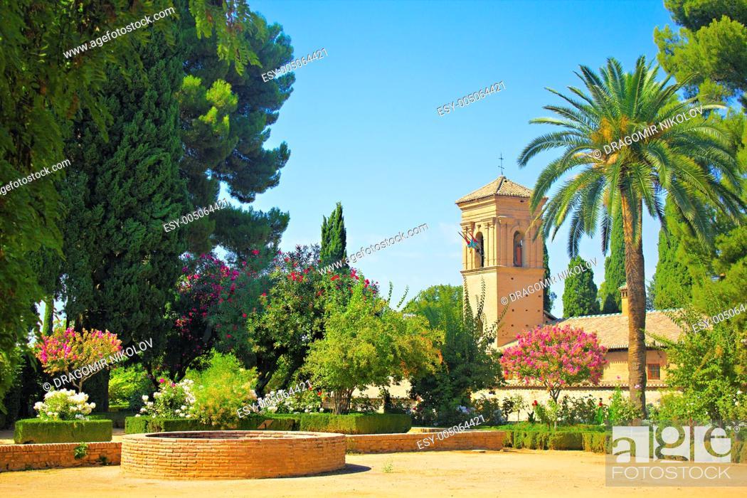 Stock Photo: Gardens of La Alhambra in Granada, Spain.
