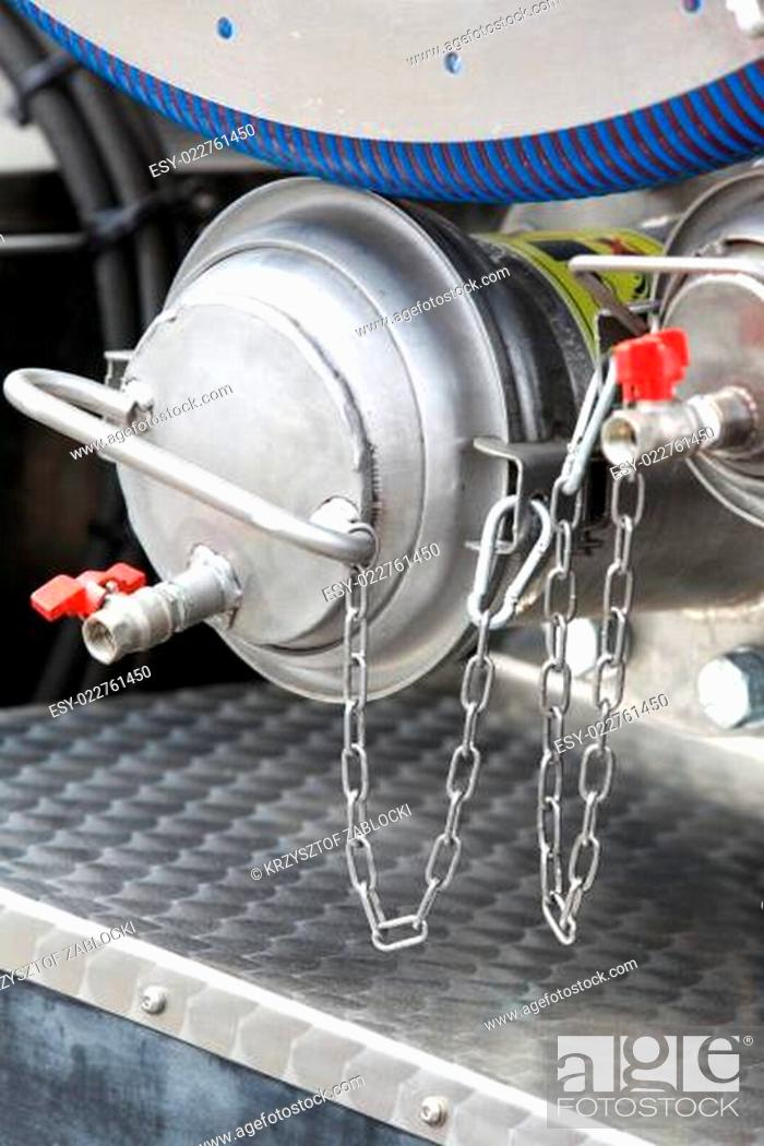 Imagen: Details of new sewage truck equipment, industry valves.