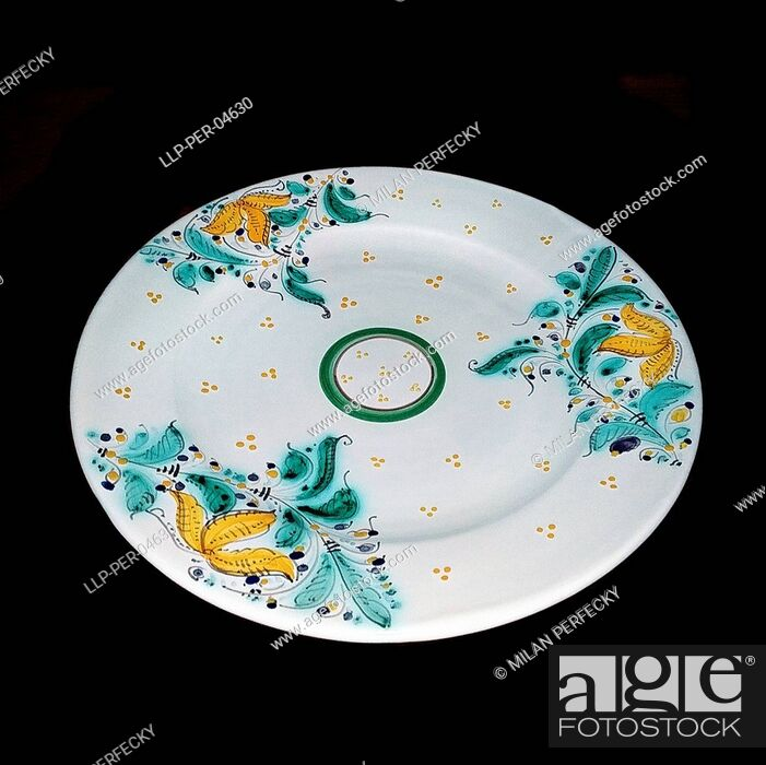 Stock Photo: Modra ceramics, author Alena Regina, plate, Modra, Slovakia.