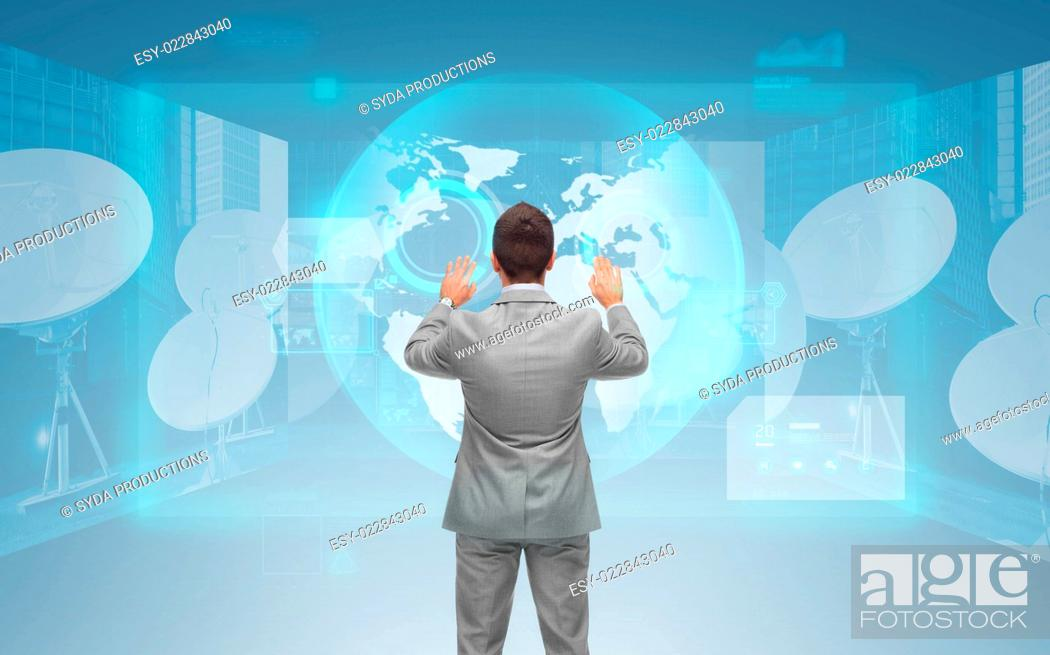 Stock Photo: business, people, global network and technology concept - businessman touching virtual screen with world map and satellite antennas over blue background from.