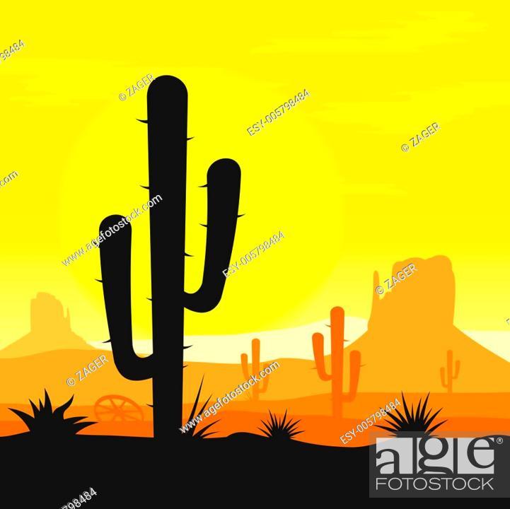Stock Vector: Cactus plants in desert.