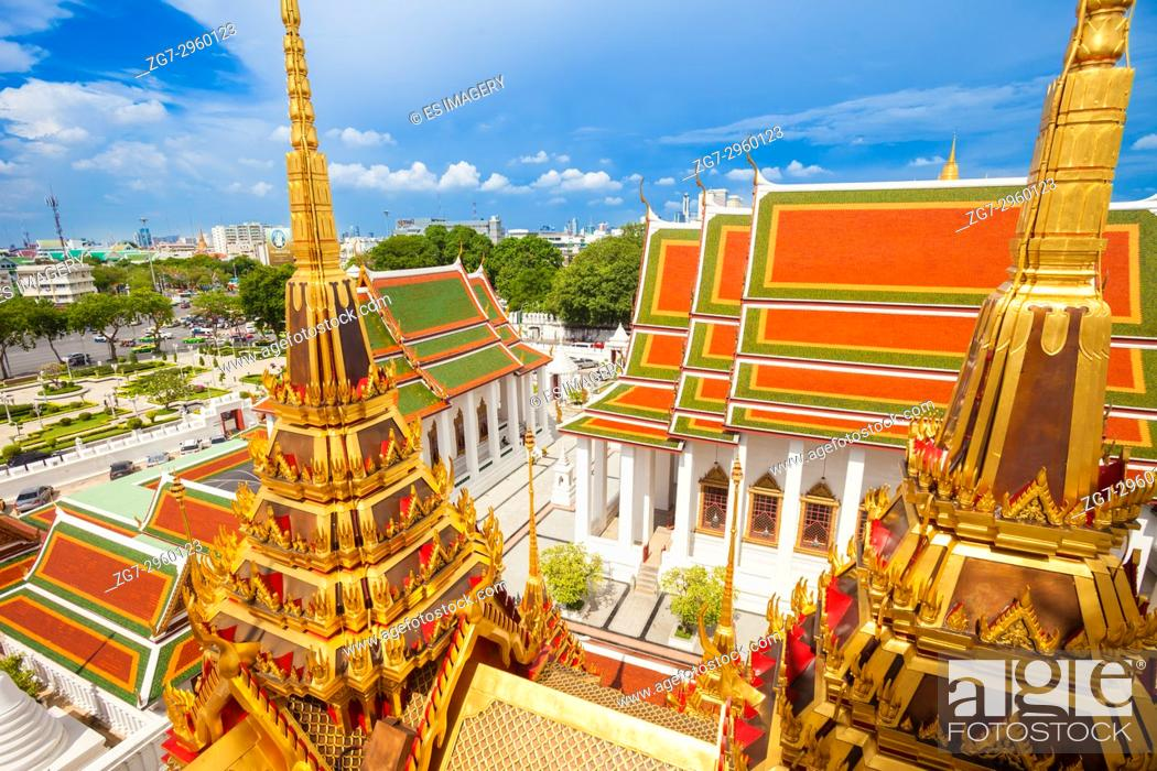 Stock Photo: View over Loha Prasat Wat Ratchanatdaram temple, Bangkok.