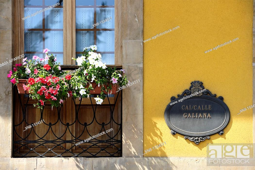 Stock Photo: Detail of a window with flowers and a shield in the historical center of Aviles Galiana Street, Asturias, Spain, Europe.