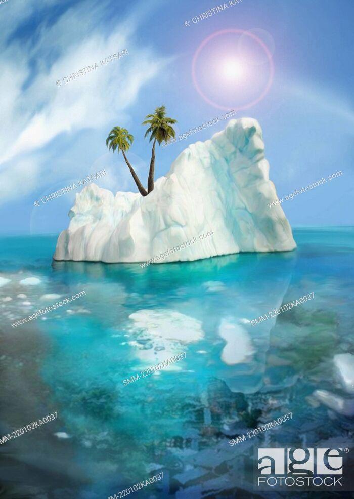 Stock Photo: Palm trees on an iceberg.
