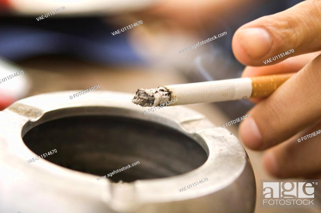 Stock Photo: Close-Up, Ashtray, Tobacco Product, Cigarette, Burning, Ash.