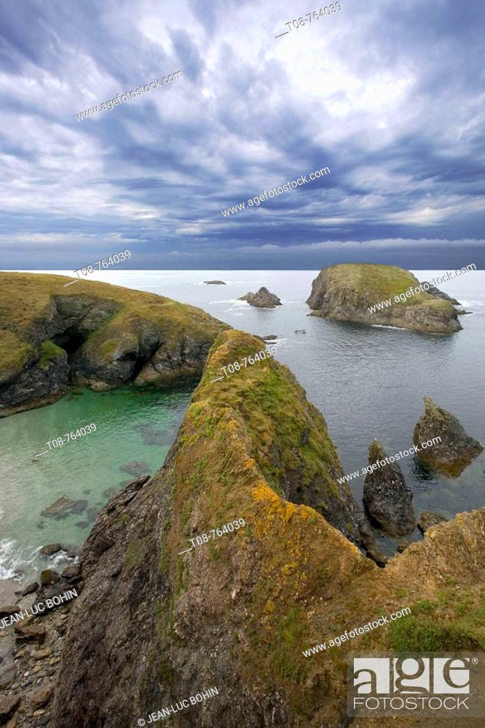 Stock Photo: Britanny; Belle Ile island : wild coast.
