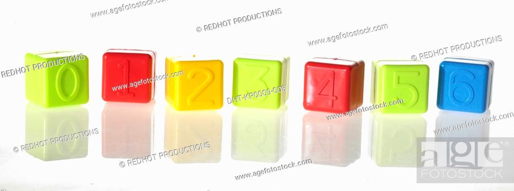 Stock Photo: Colourful Building Blocks with numbers from zero to six.