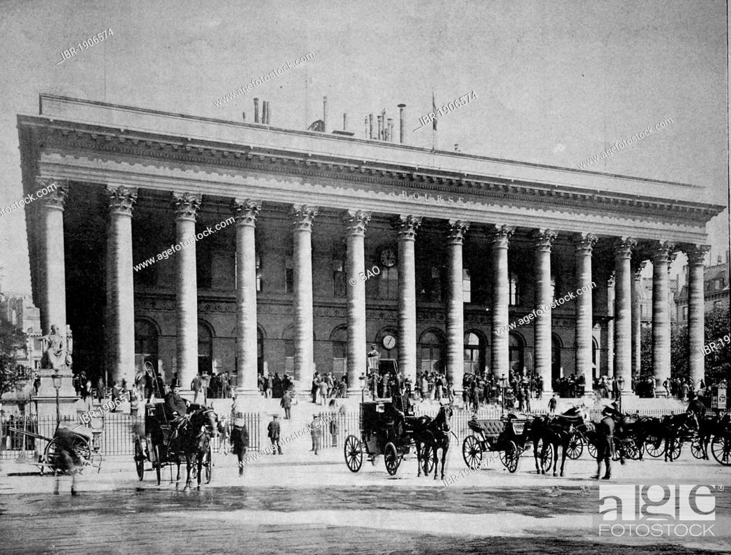 Stock Photo: Early autotype of the stock exchange in Paris, France, 1880.