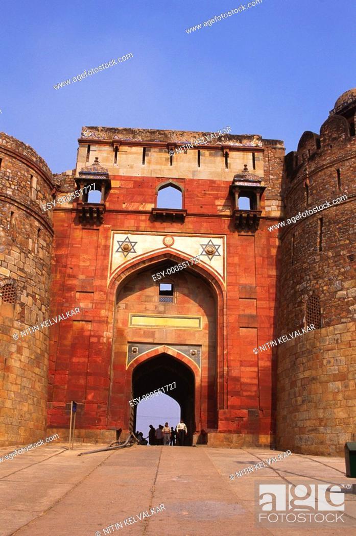 Stock Photo: Bada Darwaza of Purana Qila , New Delhi , India.