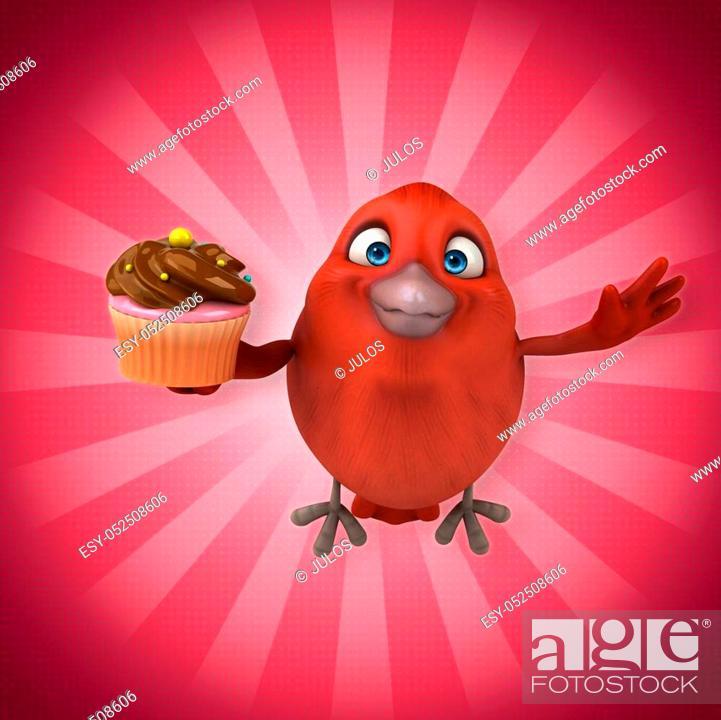 Stock Photo: Red bird.