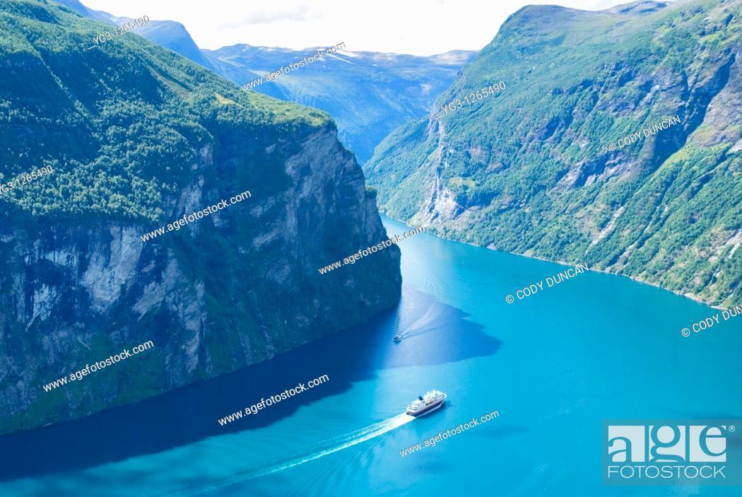 Stock Photo: Hurtigruten coastal ferry in Geirangerfjord, Geiranger, Norway.