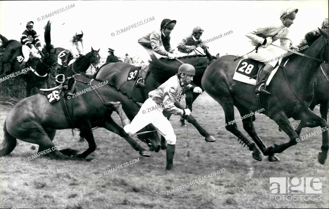Stock Photo: Apr. 04, 1978 - Lucius wins the Grand National: Lucius ridden by Bob Davies won the grand national at Aintree, 2nd was Sebastian V and 3rd Drumroan.