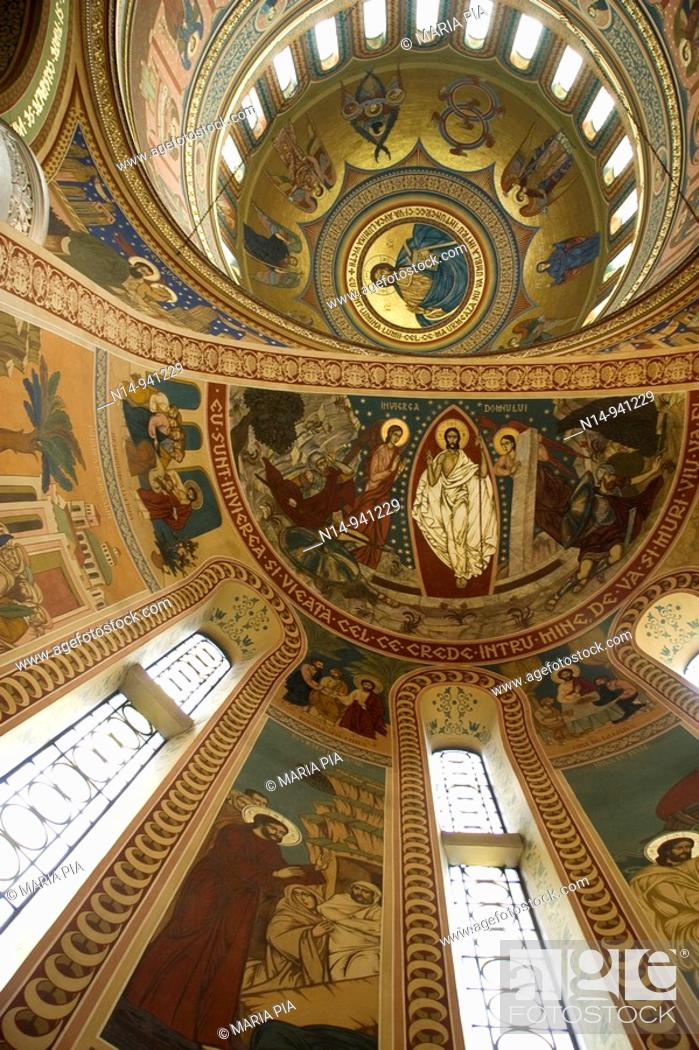 Stock Photo: Interior view of St. Treime Orthodox church. Medieval citadel town, Sighisoara, Transylvania, Romania, Europe.