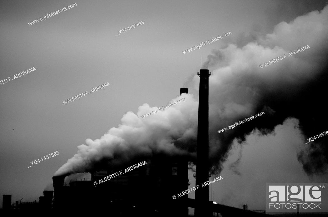 Stock Photo: Factory in Aviles, Asturias, Spain black and white image.