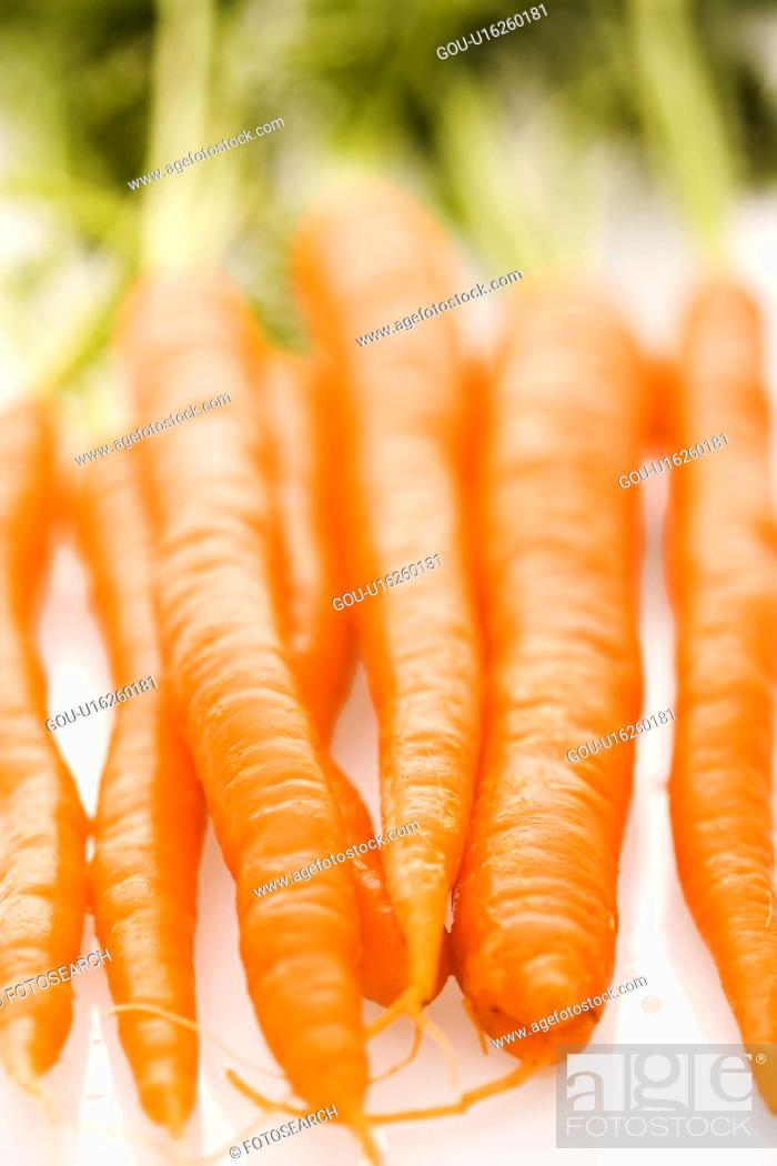 Stock Photo: Bunch of orange carrots with green tops on white background.