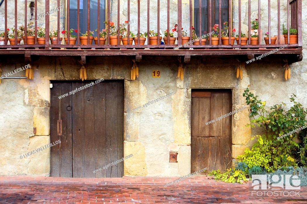Stock Photo: Detail of facade in Els Hostalets d'en Bas, Garrotxa,Girona province  Catalonia  Spain.