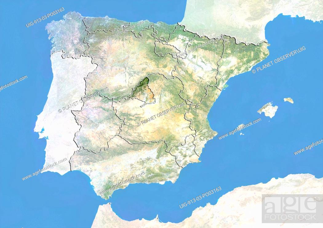 Satellite Map Of Spain.Satellite View Of Spain With Bump Effect Showing The Region Of