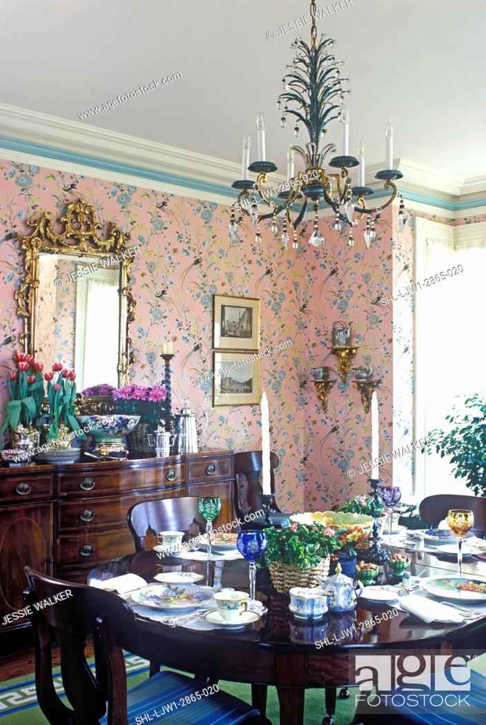 Stock Photo Dining Room Traditional Greek Revival Formal Table Set Pink Print Wallpaper White Beige And Green Painted Trimwork