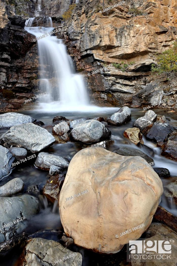 Stock Photo: Tangle Falls, Jasper National Park, UNESCO World Heritage Site, Alberta, Canada, North America.