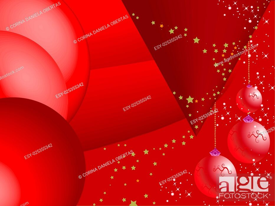 Vector: Abstract red Christmas background with baubles and snowflakes.