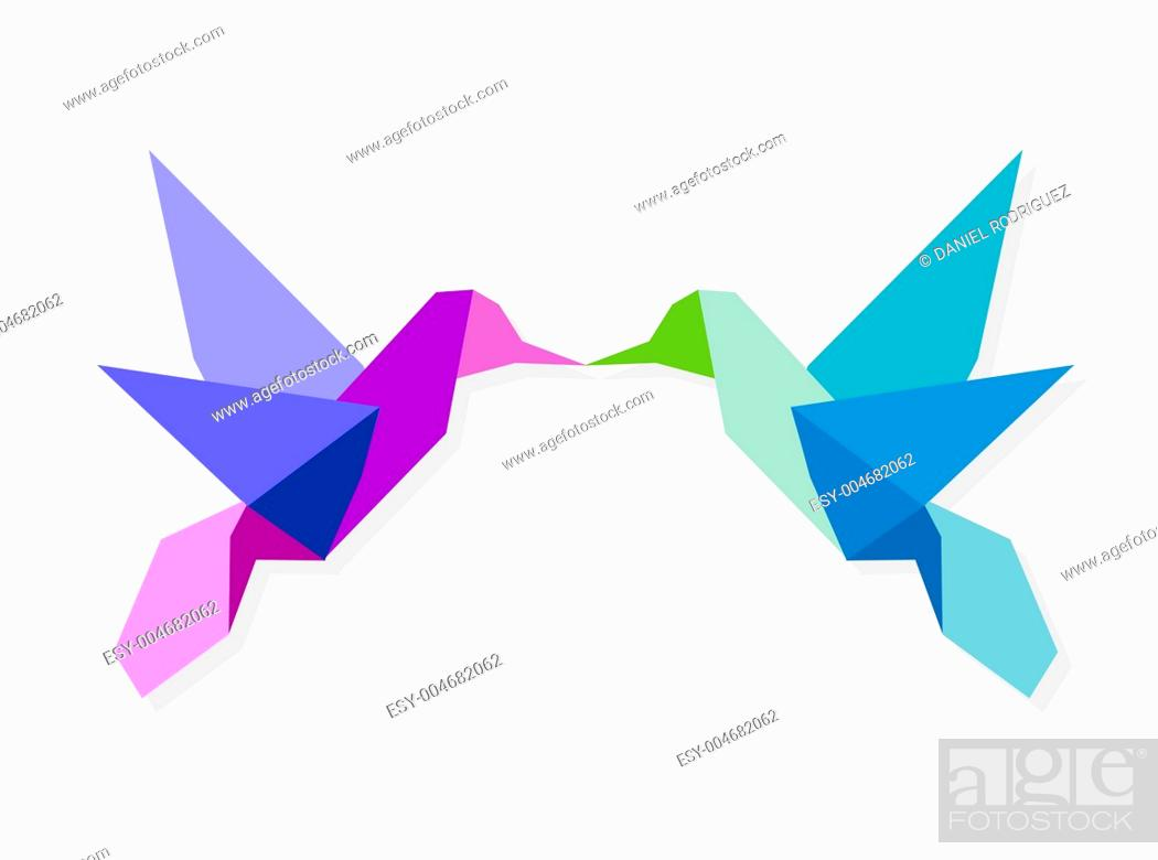Stock Photo: Couple of colorful origami hummingbird.