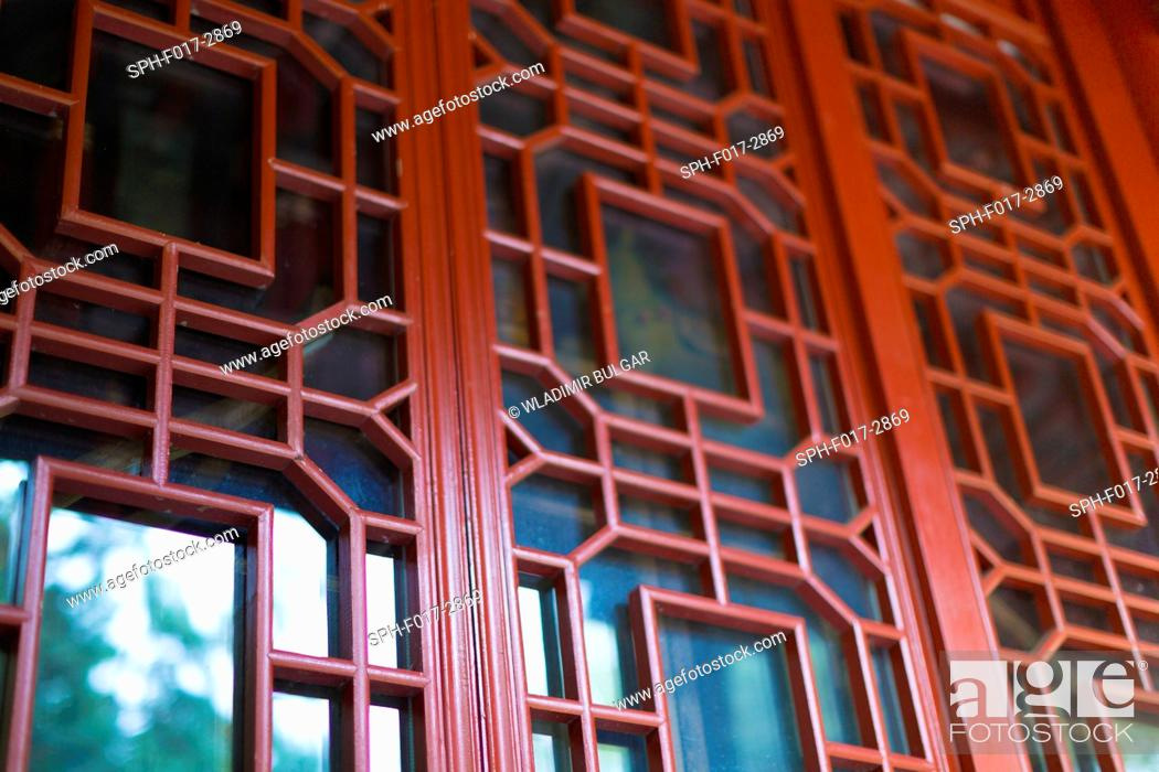 Stock Photo: Traditional red Japanese door.