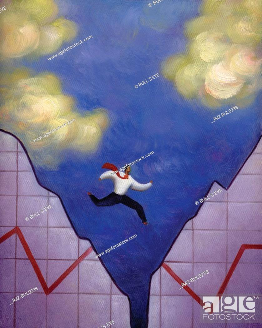 Stock Photo: Businessman leaping over a gap in a torn line graph.