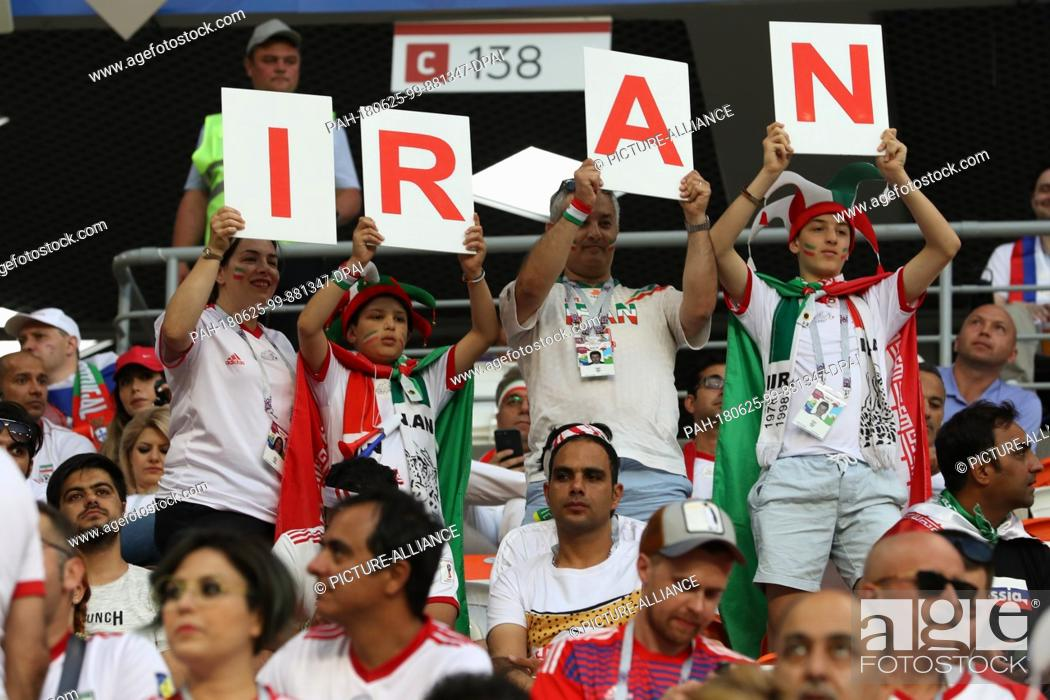 Stock Photo - Iranian fans cheer in the stands prior to the start of the FIFA  World Cup 2018 Group B soccer match between Iran and Portugal 59298117a