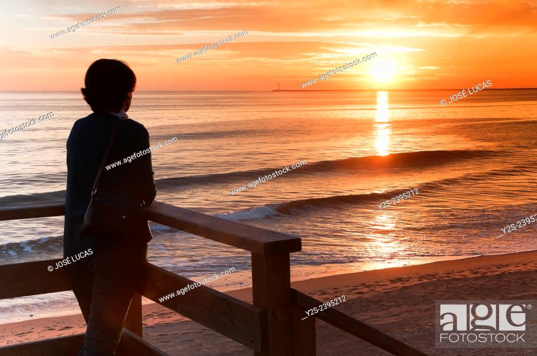 Stock Photo: Mazagon beach at sunset, Mazagon, Huelva province, Region of Andalusia, Spain, Europe.