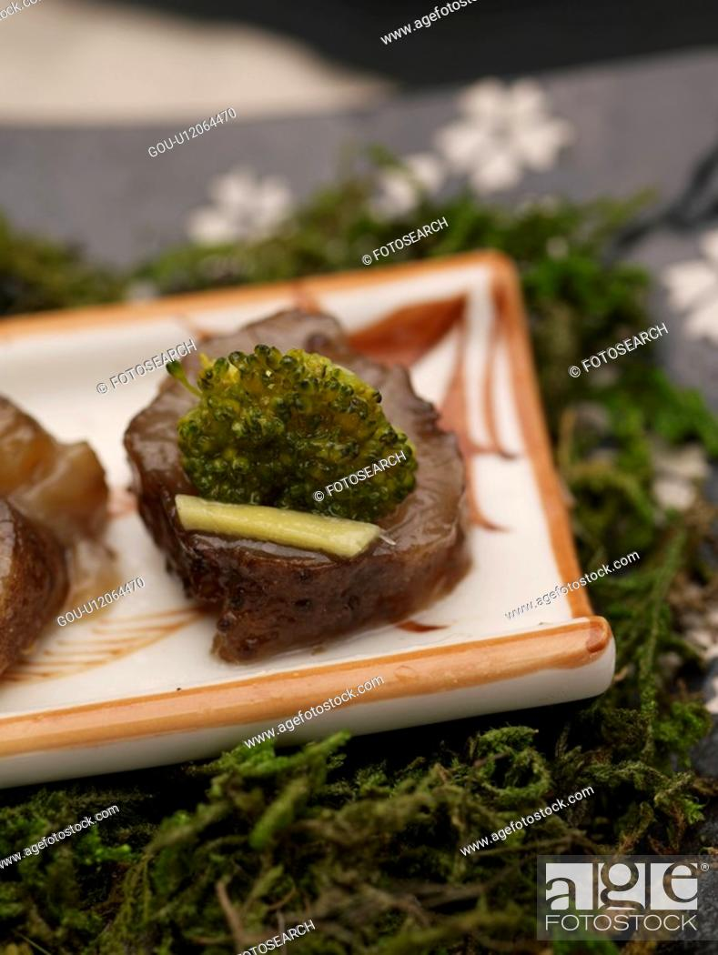 Stock Photo: cuisine, sea cucmber, food, decoration, food styling, sea cucumber with vinegar.