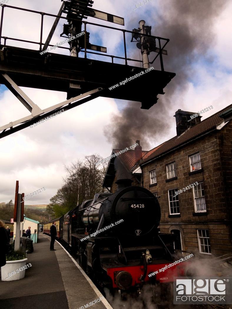 Stock Photo: vintage steam locomotive 45428 Eric Treacy at Grosmont station,on The North Yorkshire Moors Railway,Yorkshire,UK.