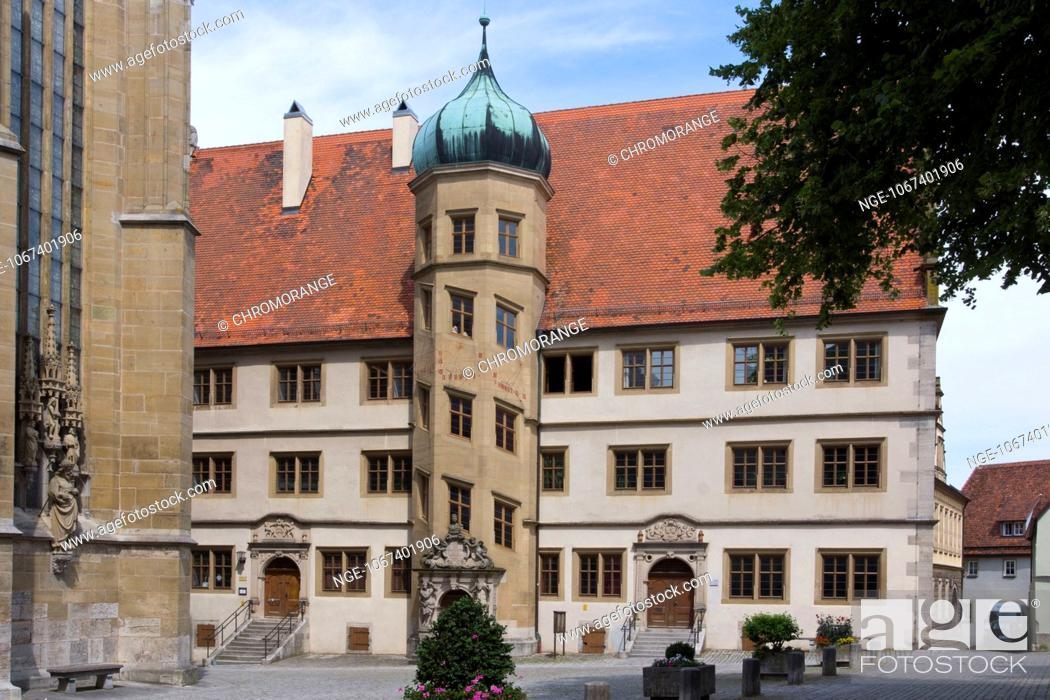 Imagen: Stair tower with three sundials, old grammar school, now the community centre of St. James s Church, Rothenburg ob der Tauber, Middle Franconia, Bavaria.