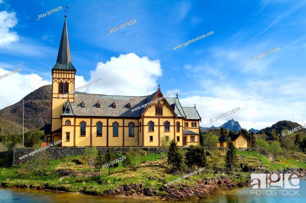 Stock Photo: Vagan Kirke (Church) in the Village of Kabelvag, Lofoten Archipelago, Norway.