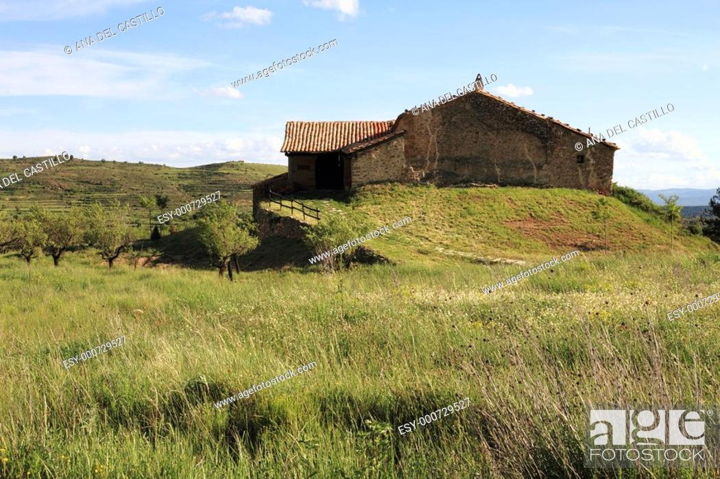 Stock Photo: Old chapel Gudar mountains Teruel province Aragon Spain.