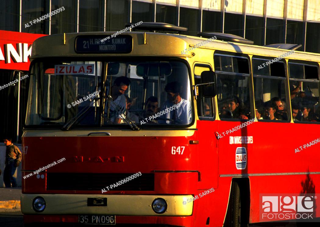 Stock Photo: Turkey, red bus, close-up.